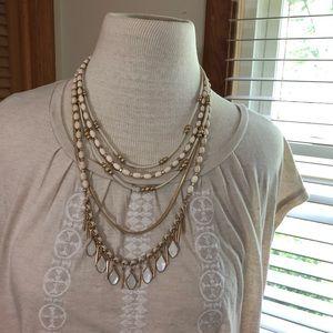 3/$12 NWT cream golf layered bead necklace